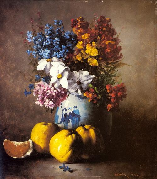 古典油画静物花卉