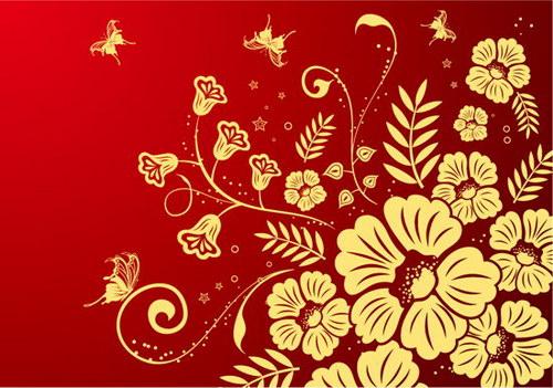 红底金色花纹 :装饰画素材网