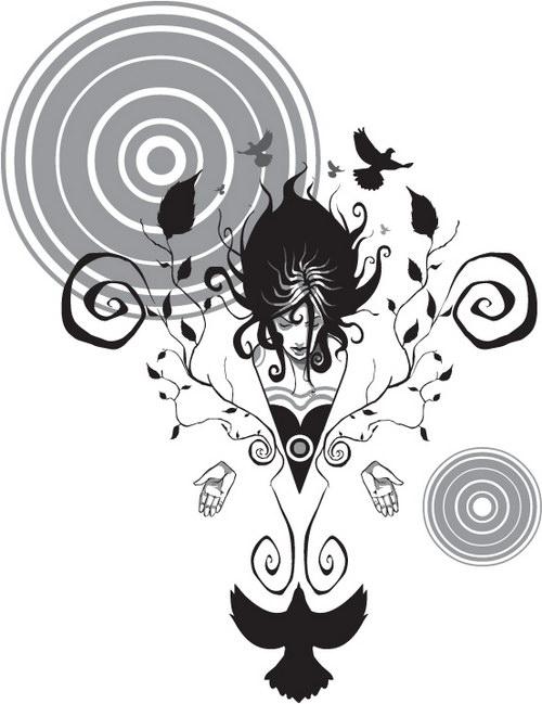 黑白素描女人 :装饰画素材网 datuku.net 最新潮的无