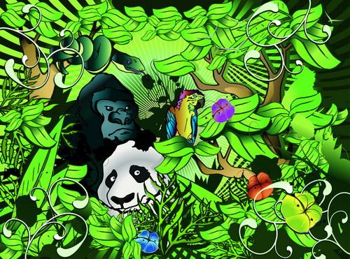 森林动物组合简笔画图片
