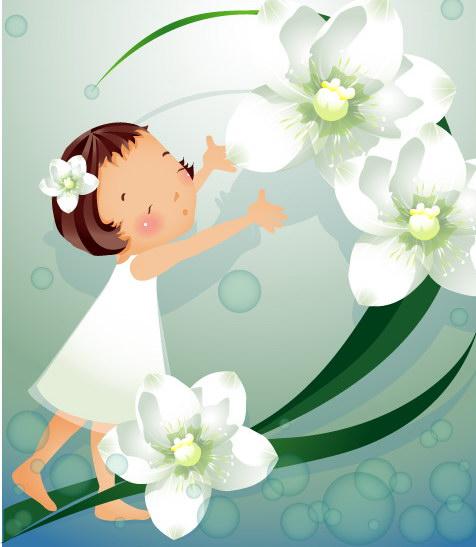 小女孩与百合花
