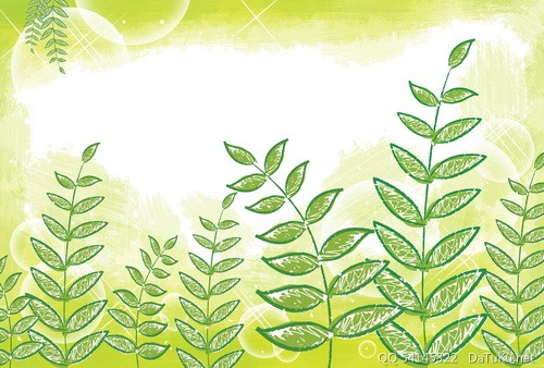 花朵插画 版面素材; 儿童手绘绿叶素材 春天海报背景图片; 植物插画