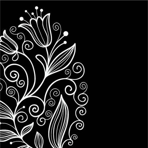 手绘黑白郁金香 :装饰画素材网 datuku.net 最新潮的