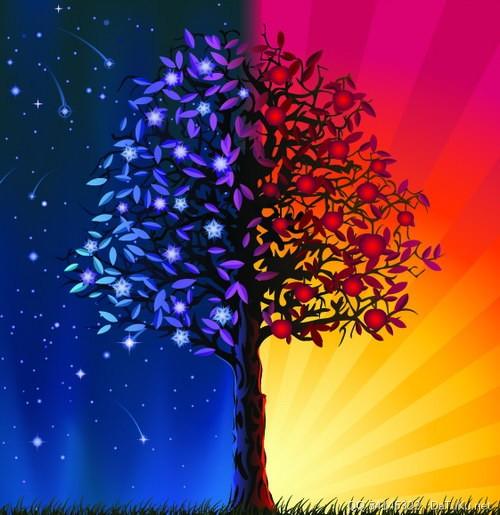 五彩树无框画