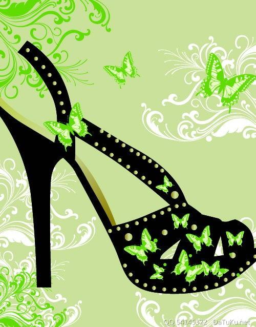 矢量时尚高跟鞋 :装饰画素材网