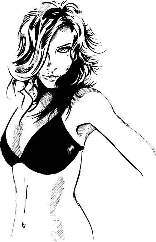 黑白素描女人 :装饰画素材网