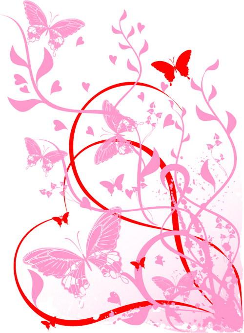 蝴蝶心形花纹 :装饰画素材网 datuku.net 最新潮的无