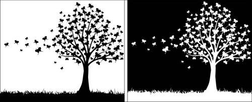 黑白树剪影 :装饰画素材网