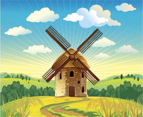 复古风格风车小屋