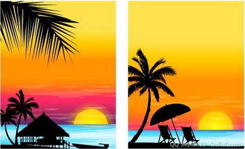 椰树晚霞剪影图