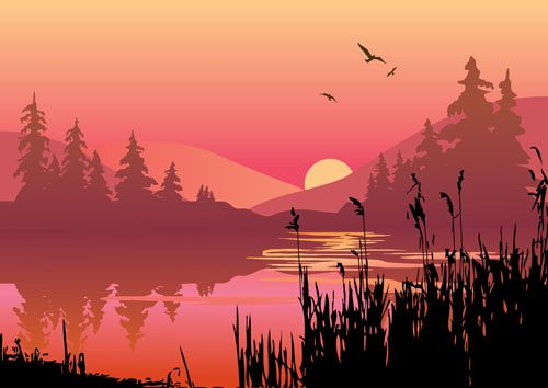 夕阳天空手绘图片