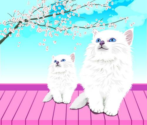 手绘白色波斯猫