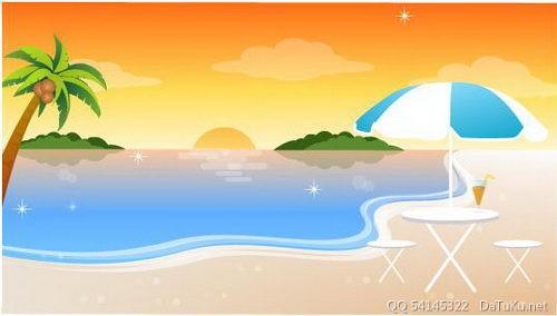 沙滩椰子树太阳伞 :装饰画素材网 datuku.net 最新潮