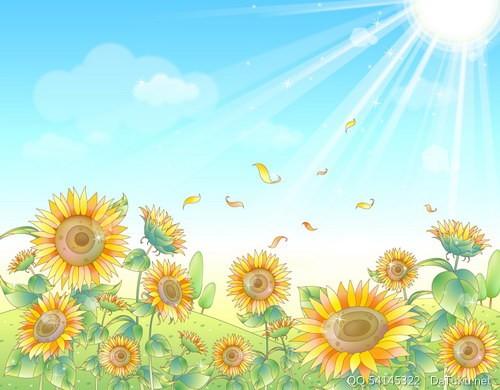 郊外矢量素材; 郁金香向日葵 :装饰画素材网; 风景矢量图